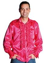 70 ' s Mens chemise en Satin rose foncé Vêtement Disco