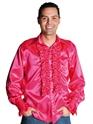 Vêtement Disco 70 ' s Mens chemise en Satin rose foncé