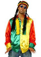 70 ' s Mens Multi couleur chemise Rasta Vêtement Disco