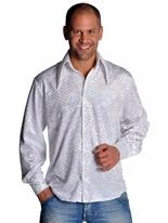 Mens Disco pailleté blanc chemise Vêtement Disco