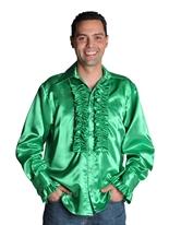 70 ' s Mens chemise en Satin vert foncé Vêtement Disco