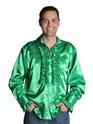 Vêtement Disco 70 ' s Mens chemise en Satin vert foncé