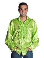 années 70 chemise Mens Satin vert clair Vêtement Disco