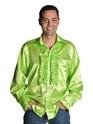 Vêtement Disco années 70 chemise Mens Satin vert clair