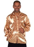 70 ' s Mens chemise en Satin Champagne Vêtement Disco
