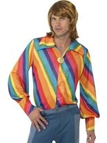 années 70 chemise de couleur arc-en-ciel Vêtement Disco