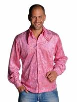 Chemise rose pailleté Mens Disco Vêtement Disco