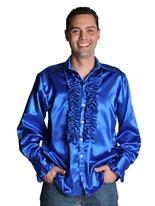 70 ' s Mens chemise en Satin bleu foncé Vêtement Disco