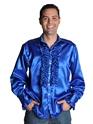 Vêtement Disco 70 ' s Mens chemise en Satin bleu foncé