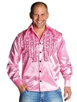 70 ' s Mens à jabot chemise en Satin rose Vêtement Disco