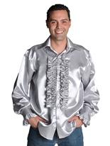 70 ' s Mens chemise Satin SILVER Vêtement Disco