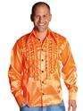 Vêtement Disco 70 ' s Mens à jabot chemise en Satin Orange