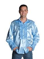 70 ' s Mens chemise en Satin bleu clair Vêtement Disco