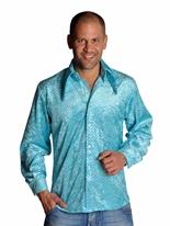 Chemise bleu pailleté Mens Disco Vêtement Disco
