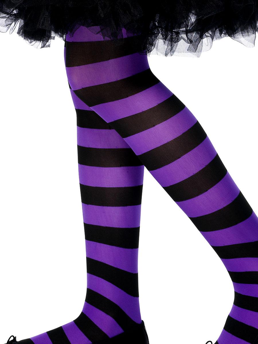 Accessoire Deguisement Childs collants à rayures violet et noir