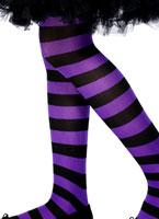 Childs collants à rayures violet et noir Accessoire Deguisement