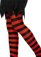Childs collants à rayures noir et rouge Accessoire Deguisement