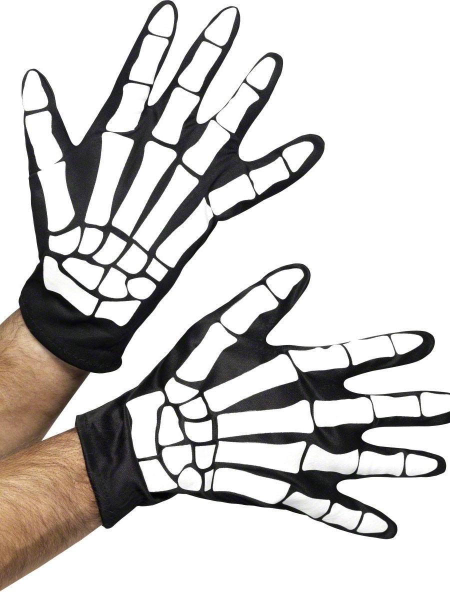 Accessoire Halloween Gants imprimés squelettes
