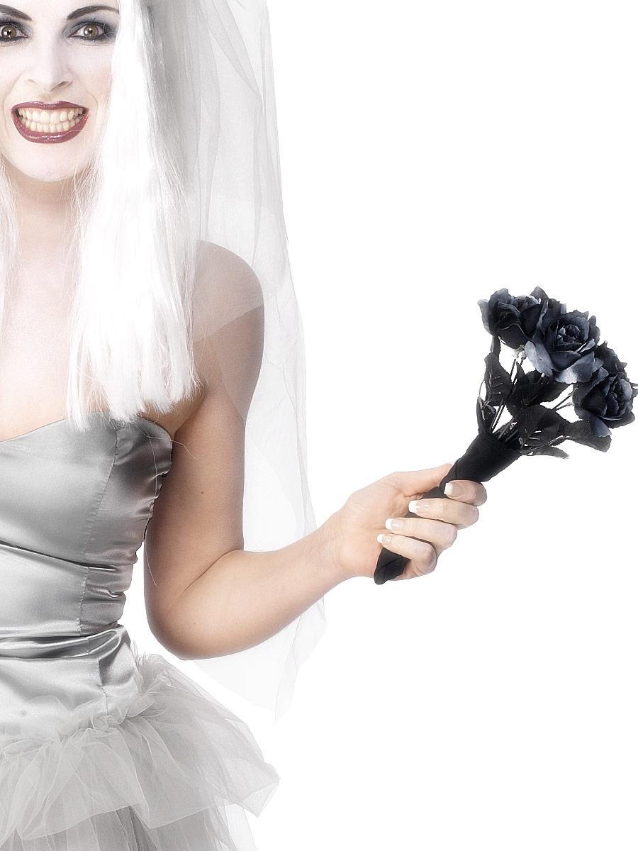Accessoire Halloween Brides cadavre Bouquet avec Roses noires