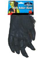 Mains velues caoutchouc noir Accessoire Halloween