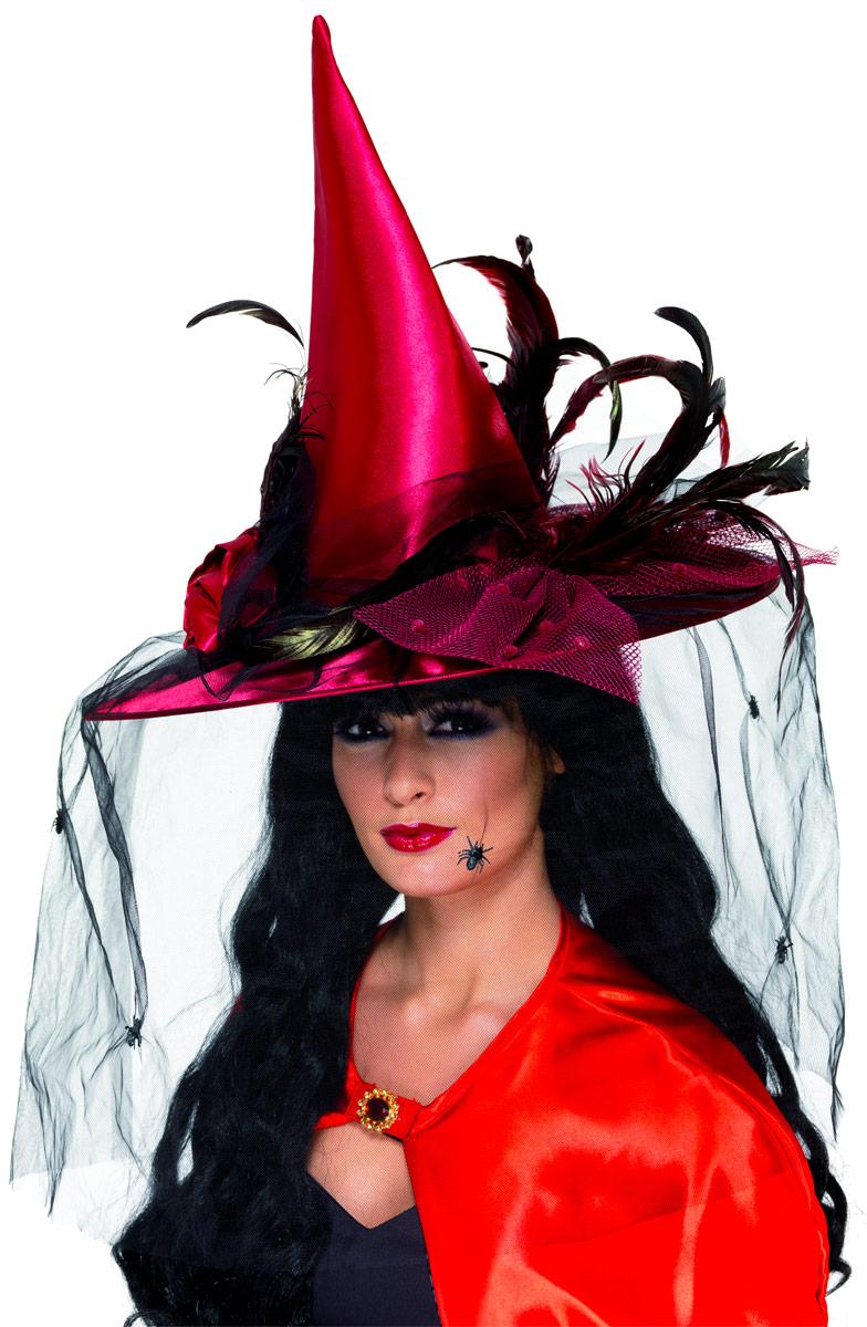 Chapeau de sorcière Chapeau de sorcière rouge Deluxe