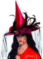 Chapeau de sorcière rouge Deluxe Chapeau de sorcière