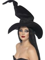 Sorcières hautes et sinueuses chapeau de velours noir Chapeau de sorcière