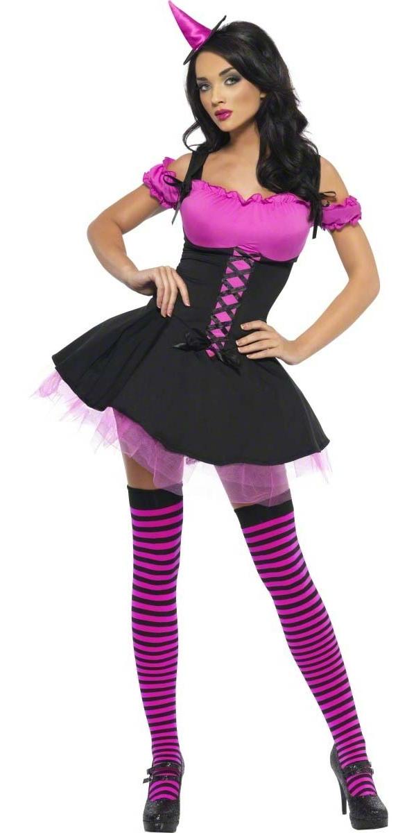 Déguisement de sorcière Fièvre méchante sorcière rose et noir Costume