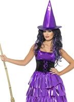 Costume de sorcière violet néon Déguisement de sorcière