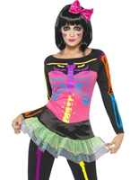 Costume squelette néon Déguisement Squelette