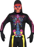 Costume squelette Bones néon Déguisement Squelette
