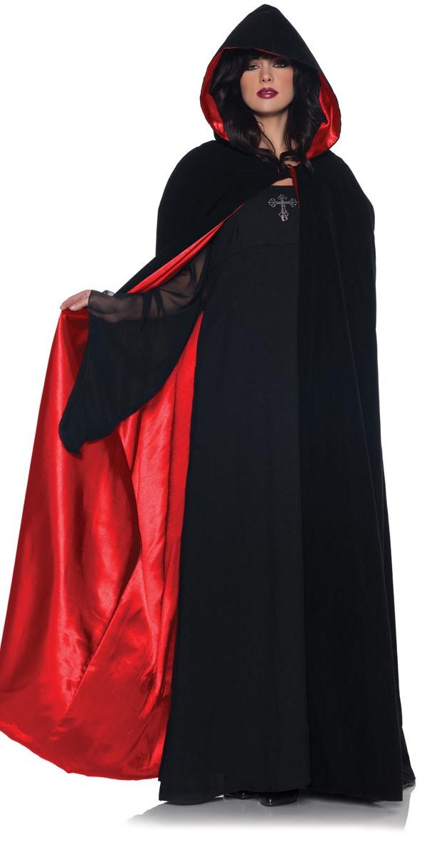 Halloween Capes et chapeaux Mesdames luxe velours & Cape de Satin rouge