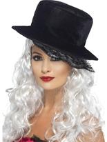 Chapeau haut de forme dentelle de pétoncle Halloween Capes et chapeaux
