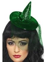 Paillettes Mini chapeau de sorcière Halloween Capes et chapeaux