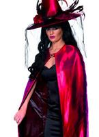 Luxe rouge et noir réversible sorcières Cap Halloween Capes et chapeaux