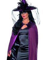Deluxe violet et noir réversible sorcières Cap Halloween Capes et chapeaux