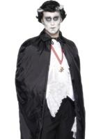 Tissu noir brillant de Cap Halloween Capes et chapeaux