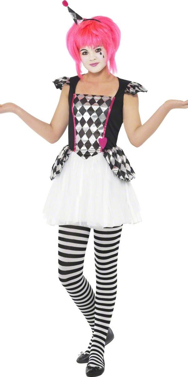 costume de clown pierrot teen halloween adolescentes. Black Bedroom Furniture Sets. Home Design Ideas