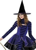 Costume de sorcière fée des ténèbres Stripe Halloween Adolescentes