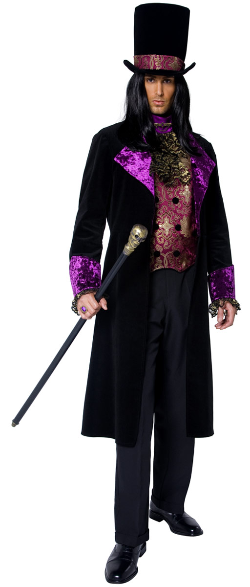 Halloween Costume Homme Manoir gothique noir Costume