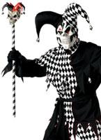 Costume de bouffon mal noir et blanc Halloween Costume Homme