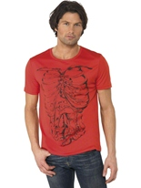 T-Shirt rouge Cage thoracique Halloween Costume Homme