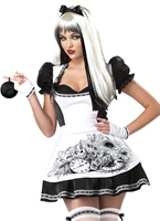 Sombre Costume d'Alice Halloween Costume Femme