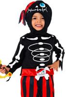 Costume de pirate squelette pour enfants Halloween Costume Garçon
