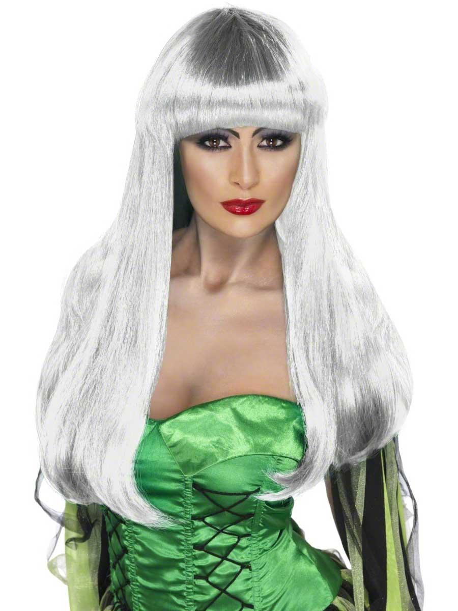 Halloween Perruque Perruque de sorcière blanche Glamour