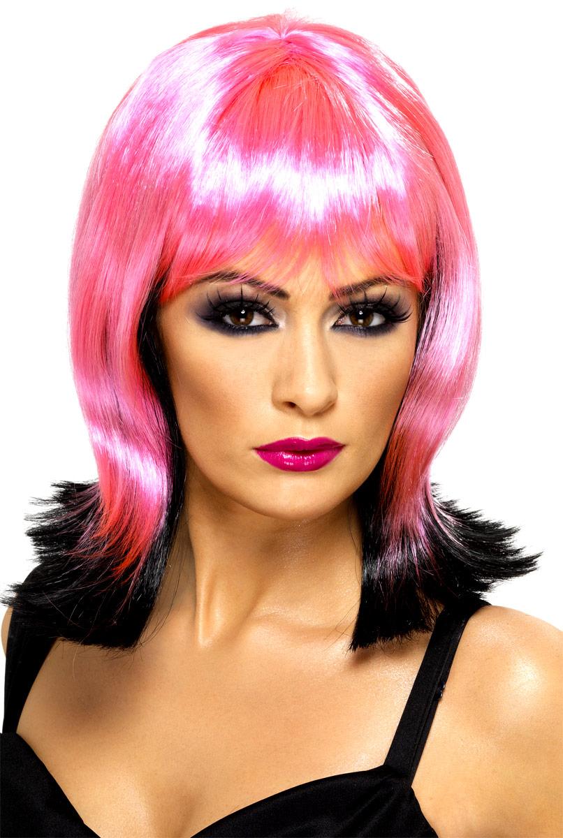 Halloween Perruque Jardin contaminé tombé Pixie rose et noir perruque