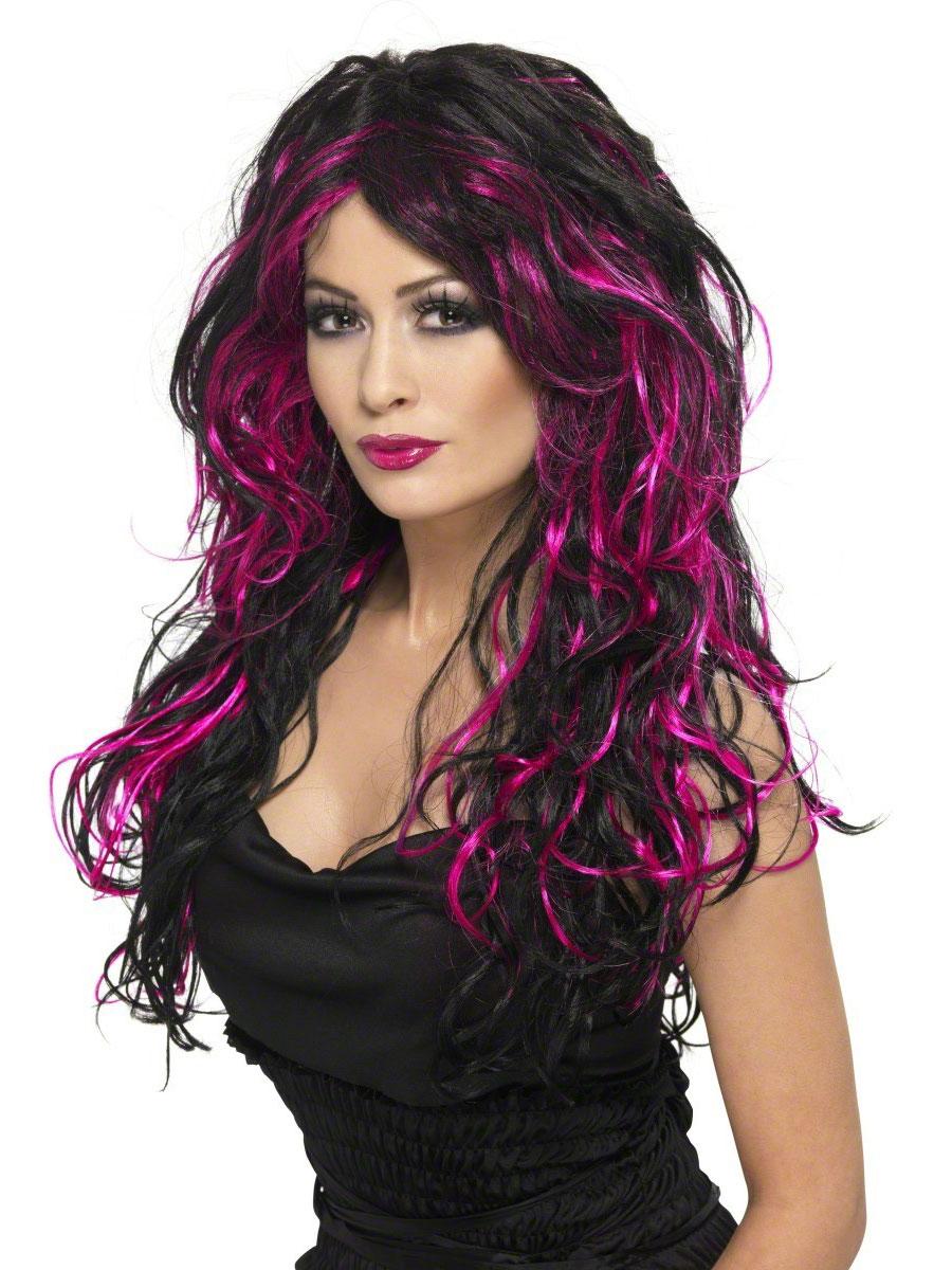 Halloween Perruque Superbe perruque fiancée gothique noir et rose