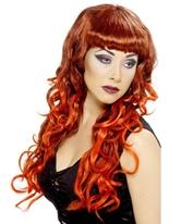 Perruque de sirène rouge noir Halloween Perruque