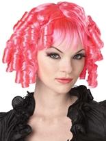 Perruque rose chaud de poupée gothique Halloween Perruque