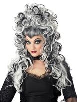 Perruque noir et blanc Evilene Halloween Perruque